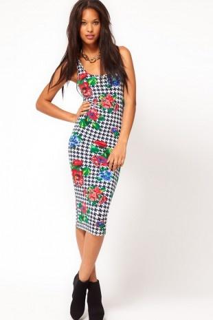 ASOS – Figurbetontes Kleid mit Hahnentritt- und Blumenmuster