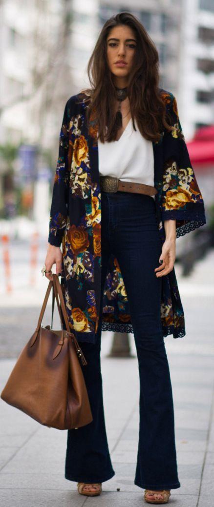 Floral Kimono Outfit Idea