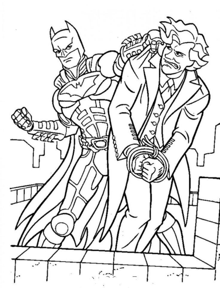 Batman Catch Joker Coloring Pages Dc Comics Action Free Online And Printable