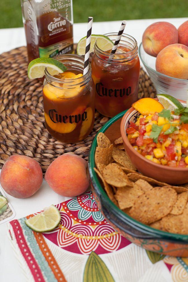 Mango Peach Salsa and Peach Jose Cuervo Iced Teagarita™ - perfect recipe for summer! #CuervoTeagarita