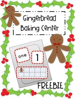 Free Gingerbread Baking Center- Number Recognition think you could also use this to build one more and two more if you made ginerbread cards to go this this set.