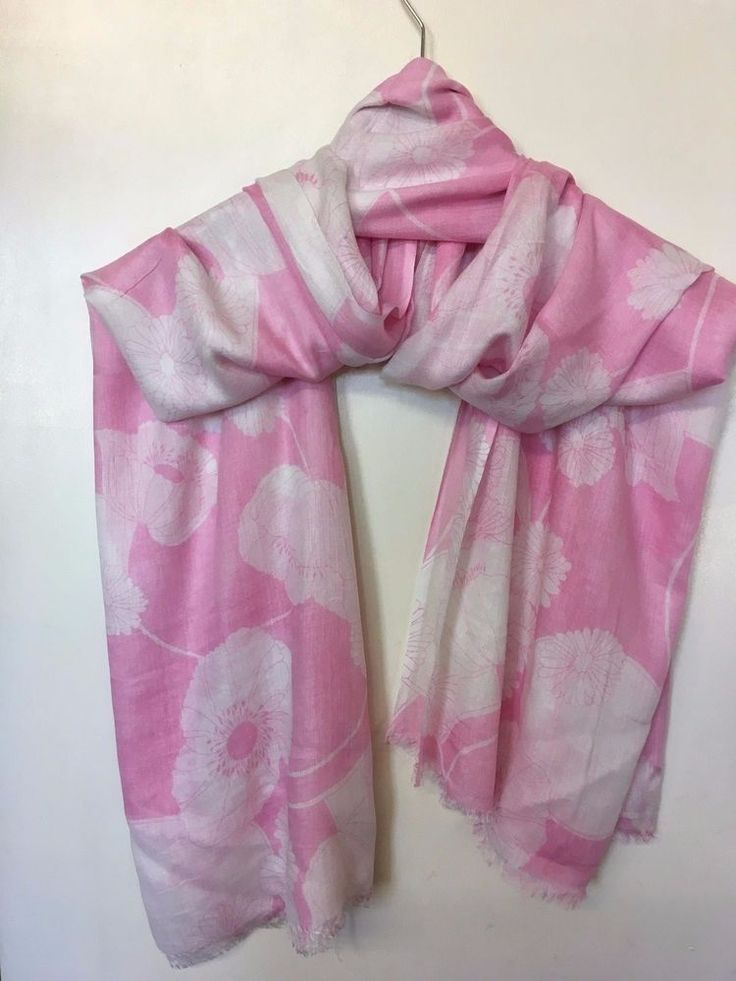 WOMEN PURE COTTON BUTTERFLY SCARF PINK AND WHITE #wrap