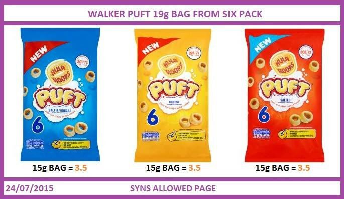 Walkers puff crisp syns