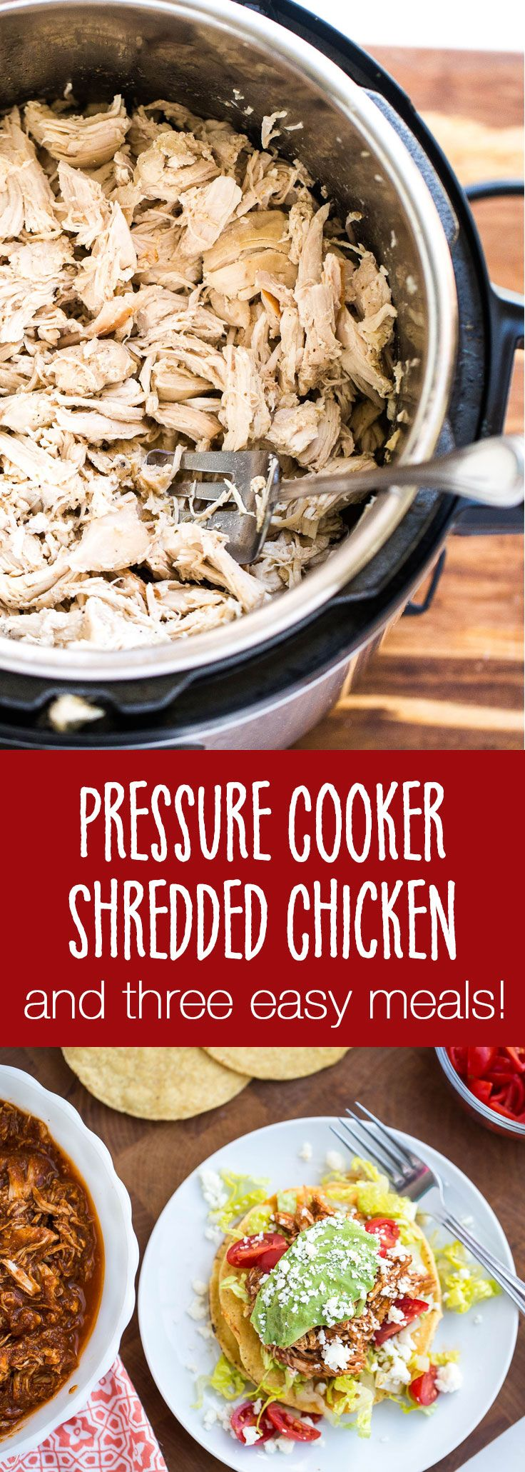 Pressure Cooker Chicken plus three easy meals you can whip up in less than 20 minutes! | meal prep | pressure cooker recipes | instant pot recipes | crock pot recipes | shredded chicken | perrysplate.com
