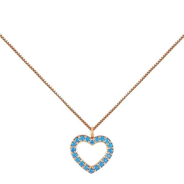 ΕΠ45-Ροζ χρυσό κολιέ καρδιά με τιρκουάζ πέτρες
