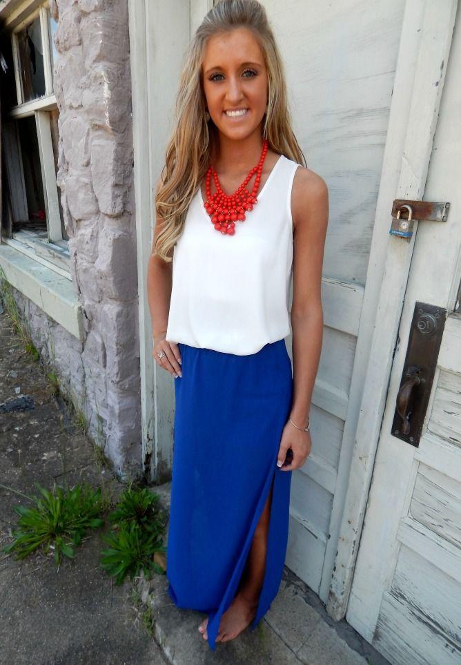 Royal Blue Maxi Skirt