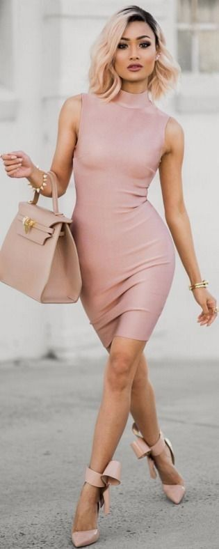 Blush cocktail dress.
