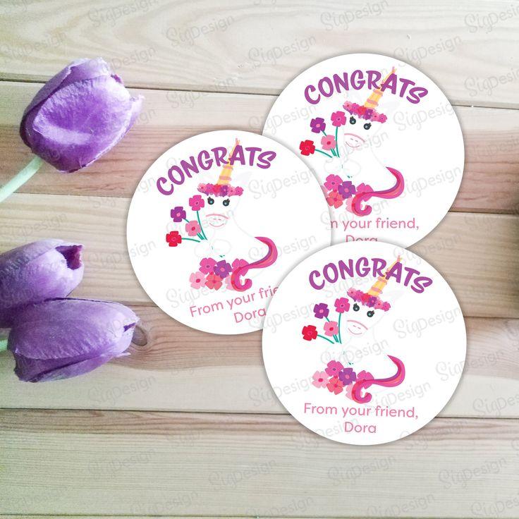 Personalized Unicorn Congrats stickers, Printable 2″ round Unicorn greeting stickers, Custom printable Unicorn with flowers card