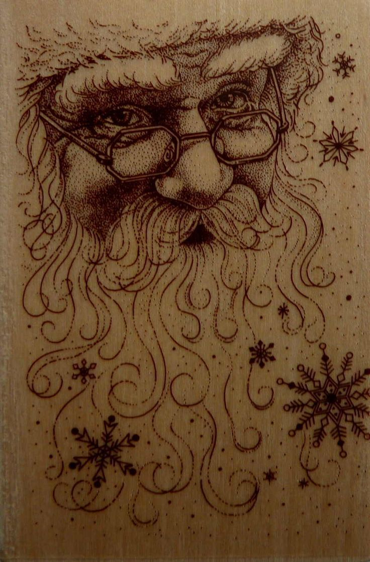 Santa Stamp - Santa Claus Face Collage rubber Stamp - NEW