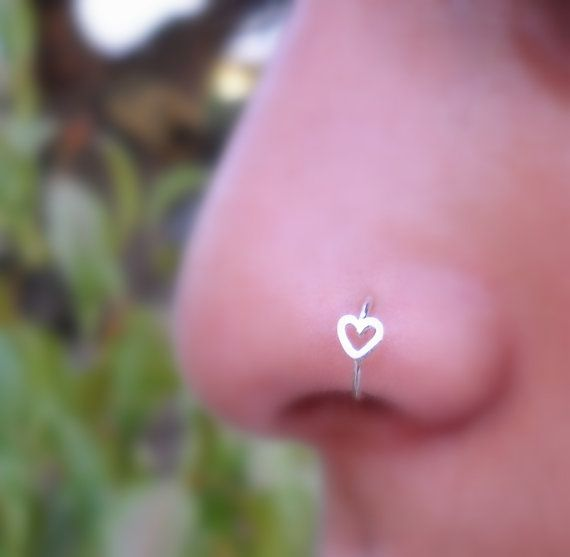 Heart Hoop Nose Ring/Tragus/Helix Sterling by Holylandstreasures, $11.95