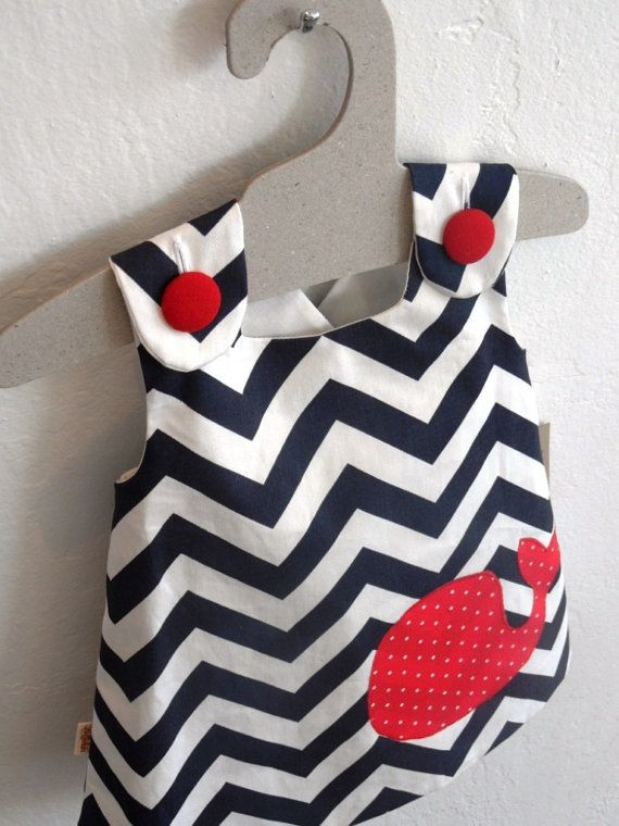 Nautical Navy & White Pinafore with Red Whale by Lottekin on Etsy, $28.00