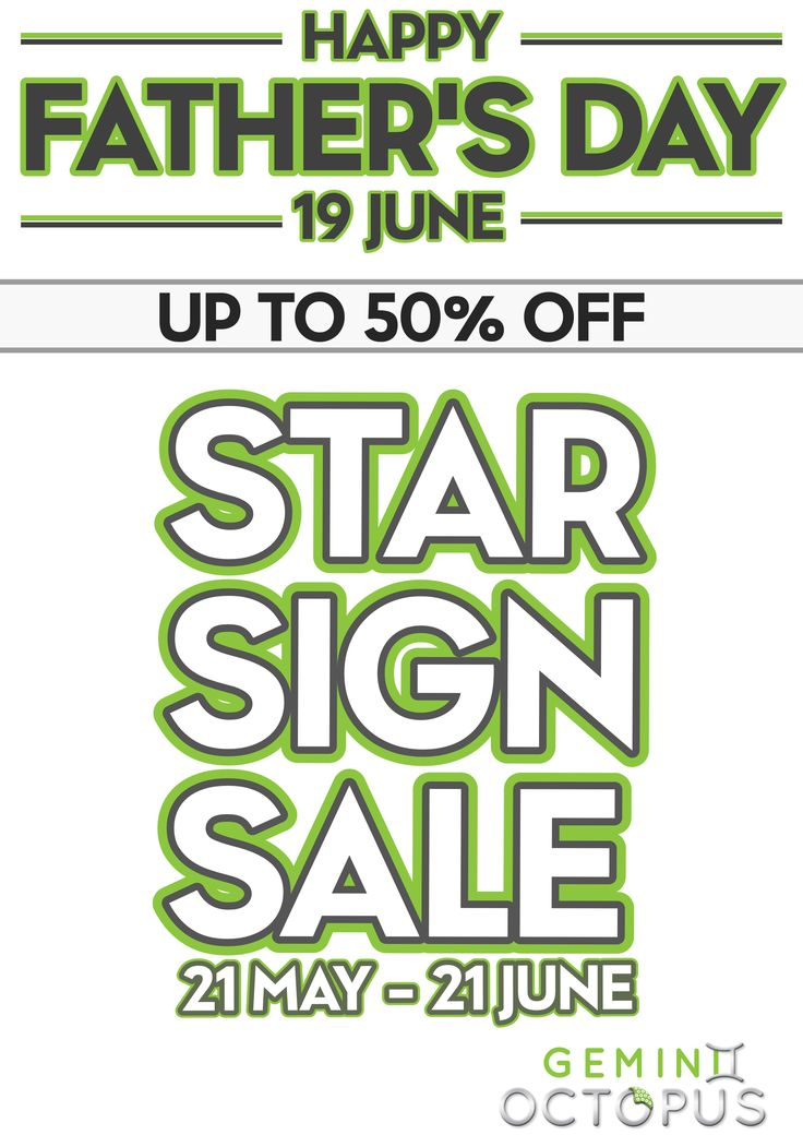 Happy Father's Day -  Shop at our Star Sign Sale and get your perfect gift for dad this Father's day!!! #Starsignsale #gifts #fathersday #dad #love @eastrandmall and @fourwaysmall @Geminioctopus www.geminioctopus.com