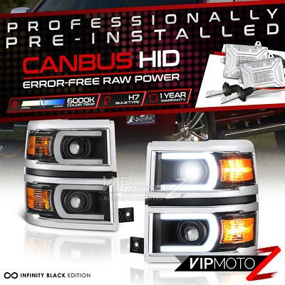 {BUILT-IN HID LOW BEAM} 2014-2015 Chevy Silverado 1500 Headlamps LED DRL Lights
