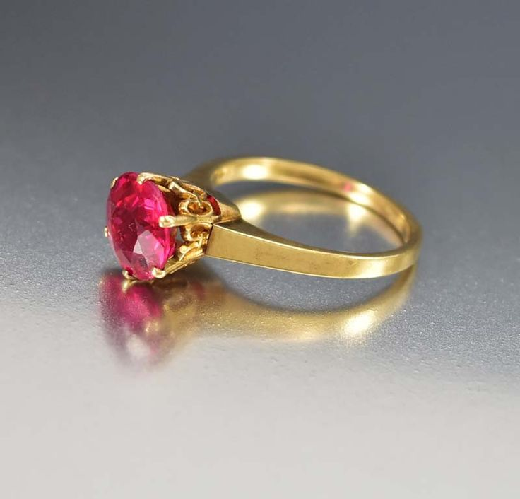 Antique Gold Ruby Solitaire Engagement Ring Solitaire