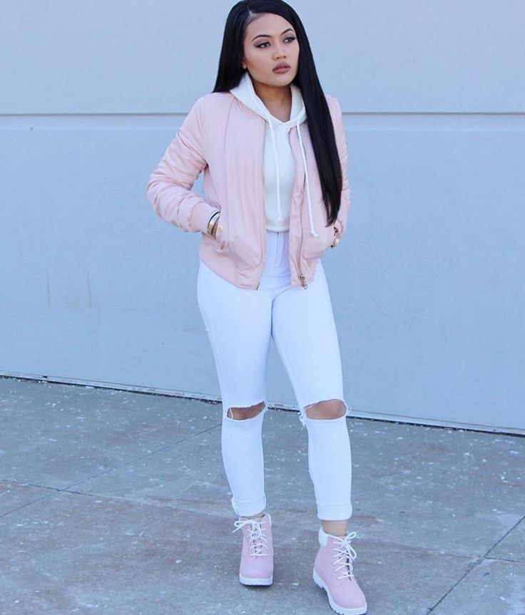 (Cold) Pop of Color & Girly Tomboy // Light Pink Bomber Jacket, White Hoodie, White High Waisted Jeans, Light Pink Boots