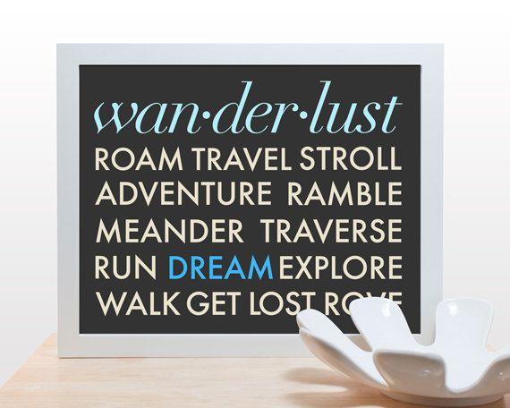 Wanderlust Travel Typography Print - 11x14 Poster art modern office den teen wall decor adventure aqua teal blue clean classic design