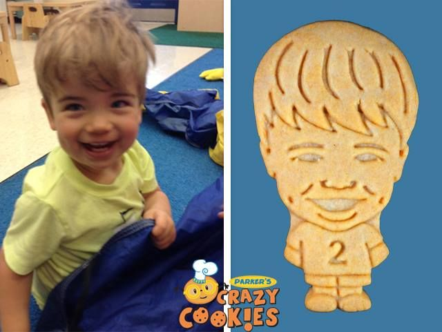 Make your child the happiest birthday boy with custom cookies by Parker's Crazy Cookies for his birthday party. So easy to order and so fun to receive. Your child will love them because they'll look just like him...you'll love them because they're low in sugar, but high in fun!