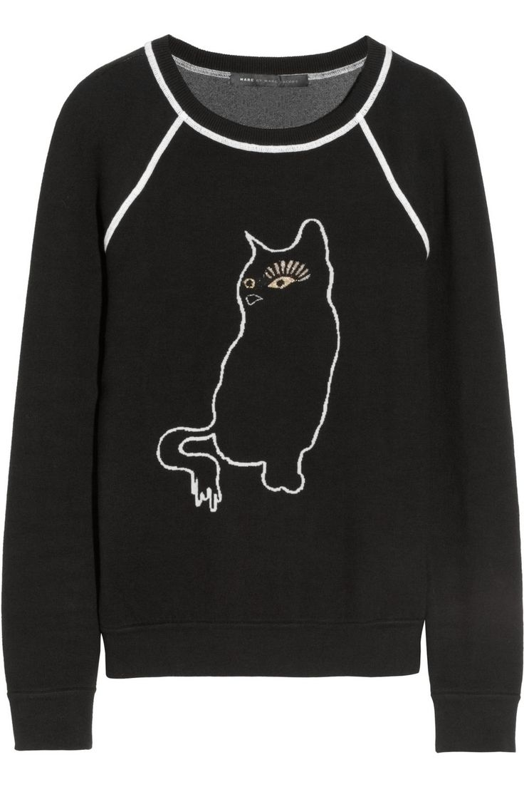 Marc by Marc Jacobs | Rue cat-intarsia cotton-blend sweatshirt | NET-A-PORTER.COM