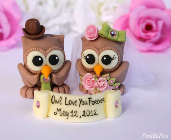 Owl love birds wedding cake topper  customizable  by PerlillaPets