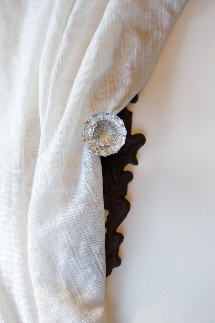 Vintage crystal door knobs - Set Of Four Vintage Crystal Door Knob Curtain Tie Back 130 00 Via Etsy