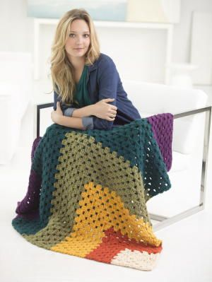 """Cute and Colorful Granny Square Afghan/ easy / 48"""" square / uses """"N"""" hook & super bulky yarn/ FREE CROCHET pattern"""