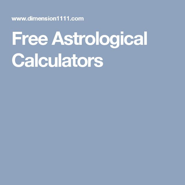 Free Astrological Calculators