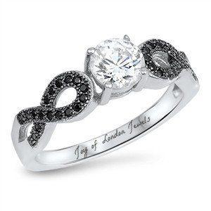 1CT Russian Lab Diamond Engagement Black Diamond Infinity Ring