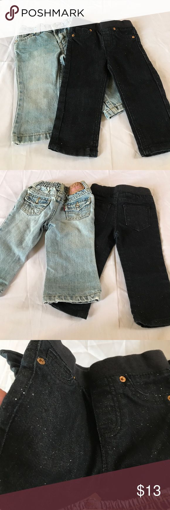 Pre-Loved Girls Jean Bundle 12M Dark jeans sparkle Please see all pictures, and read all info prior to purchasing  If there is an issue with the order, please message me before leaving a negative feedback, I'd like the opportunity to address the issue. I'm committed to my customers and I want you to be satisfied with your purchase.  I'm  1. Smoke Free Home 2. I do have puppies, they are not allowed in my office, but a stray hair may transfer onto me.  3. I will gladly Bundle to save on…