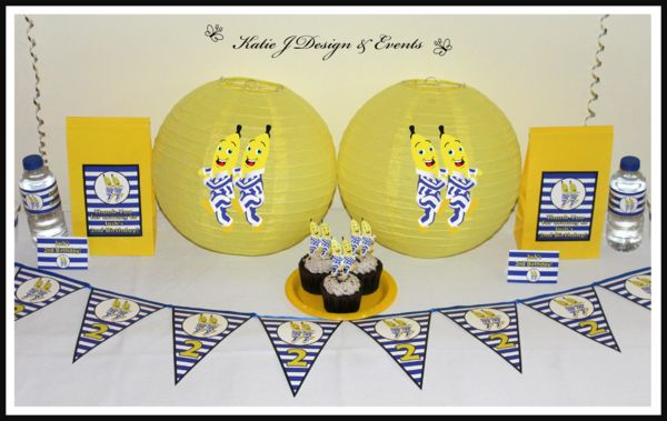 #Bananas #In #Pyjamas #Baby #Cute #Shower #Unisex #Shower #Birthday #Bunting #Party #Decorations #Ideas #Banners #Cupcakes #WallDisplay #PopTop #JuiceLabels #PartyBags #Invites #KatieJDesignAndEvents #Personalised #Creative