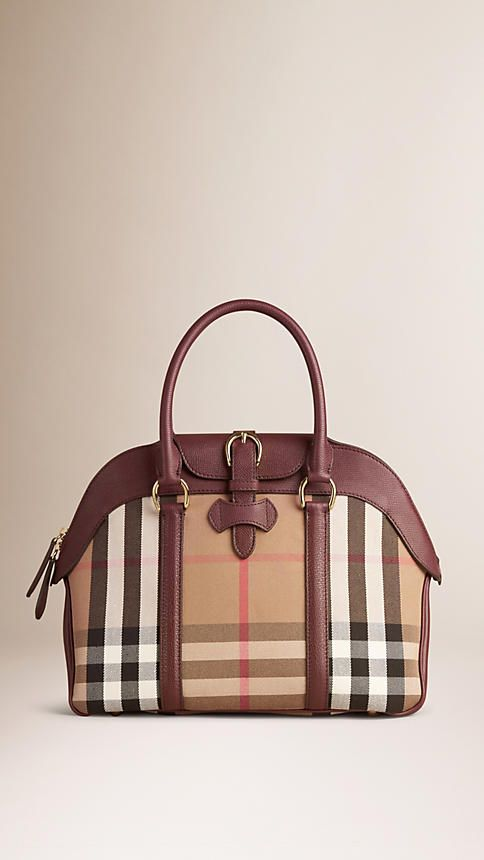 House Check and Leather Bowling Bag Mahogany Red | Burberry