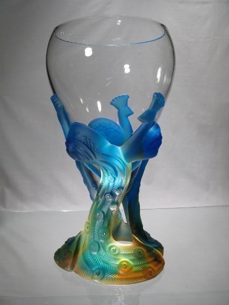 Vase Paon - Cristal art deco - vase paon - cristallerie de champagne