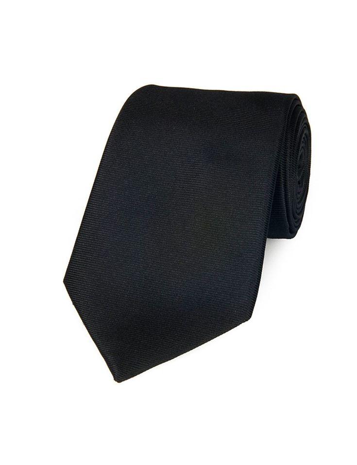 Men's Plain Black Ottoman 100% Silk Tie