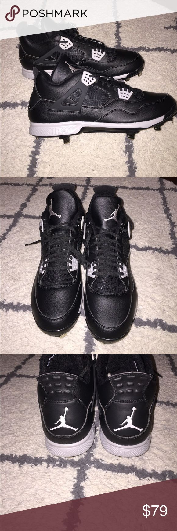 Brand New Air Jordan Retro 4 Baseball Cleats These are perfect for the diamond!!!! Brand new Jordan Retro 4 Oreo Cleats!!! I do not have the box, but they are brand new as you can see in pictures. They are on Eastbay right now for $105+. Make an offer!! Jordan Shoes Athletic Shoes
