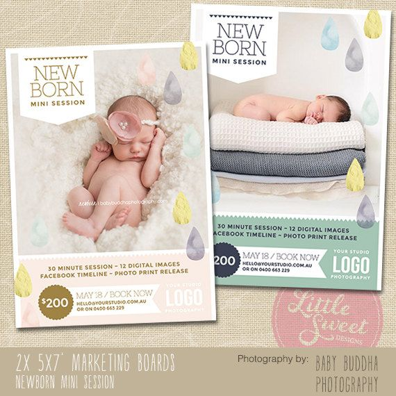 Photography marketing board newborn mini session template for photographers dm1