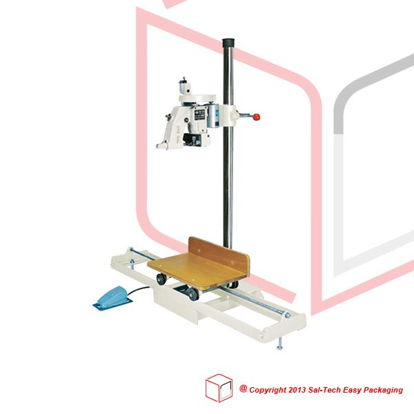 Bag closing sewing machines with stand and transfer trolley allowing easier closing of heavy sack and back. We also have table top solutions with stand and sewing machine stationary