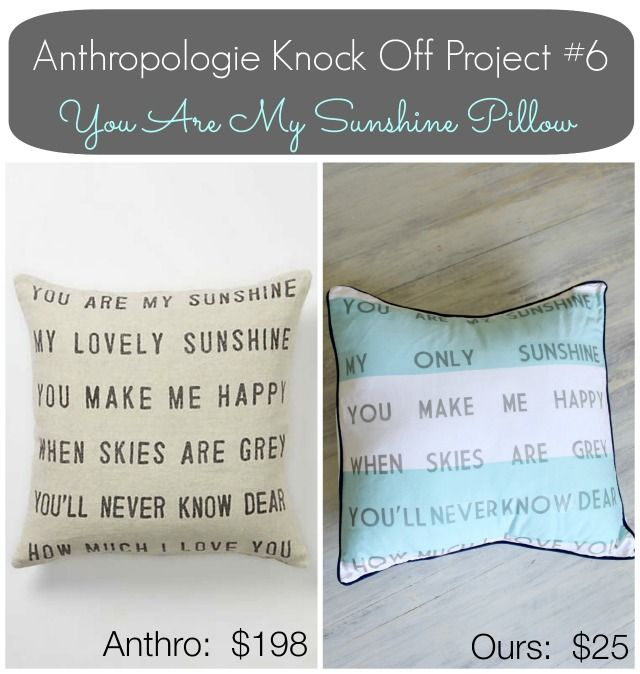 Anthropologie Inspired 'You Are My Sunshine' Pillow     View From The Fridge