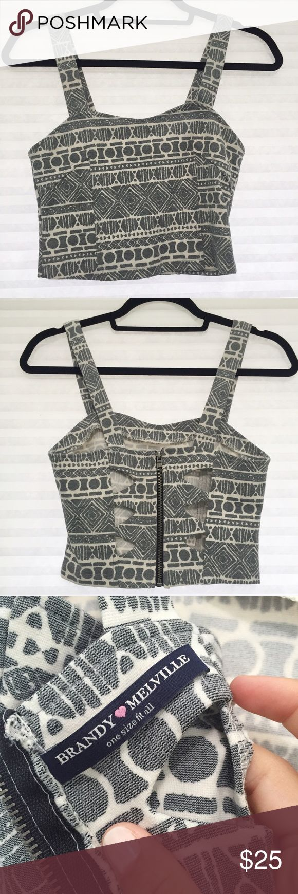 Brandy Melville Aztec Crop Top Brandy Aztec patterned crop with fun cutouts in the back. The full length zipper adds a strong detail to the back Brandy Melville Tops Crop Tops