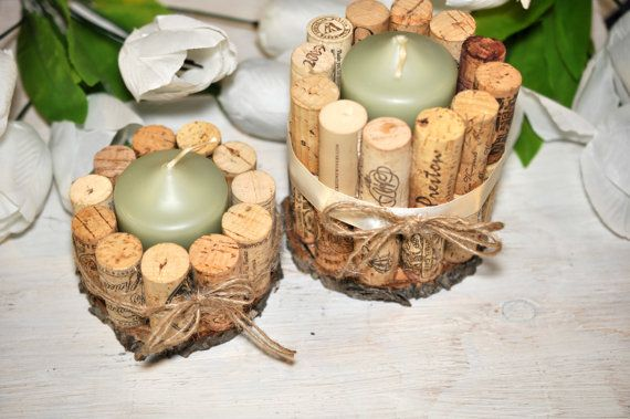 wine cork candle holder set candle holders от ReclaimedOregon