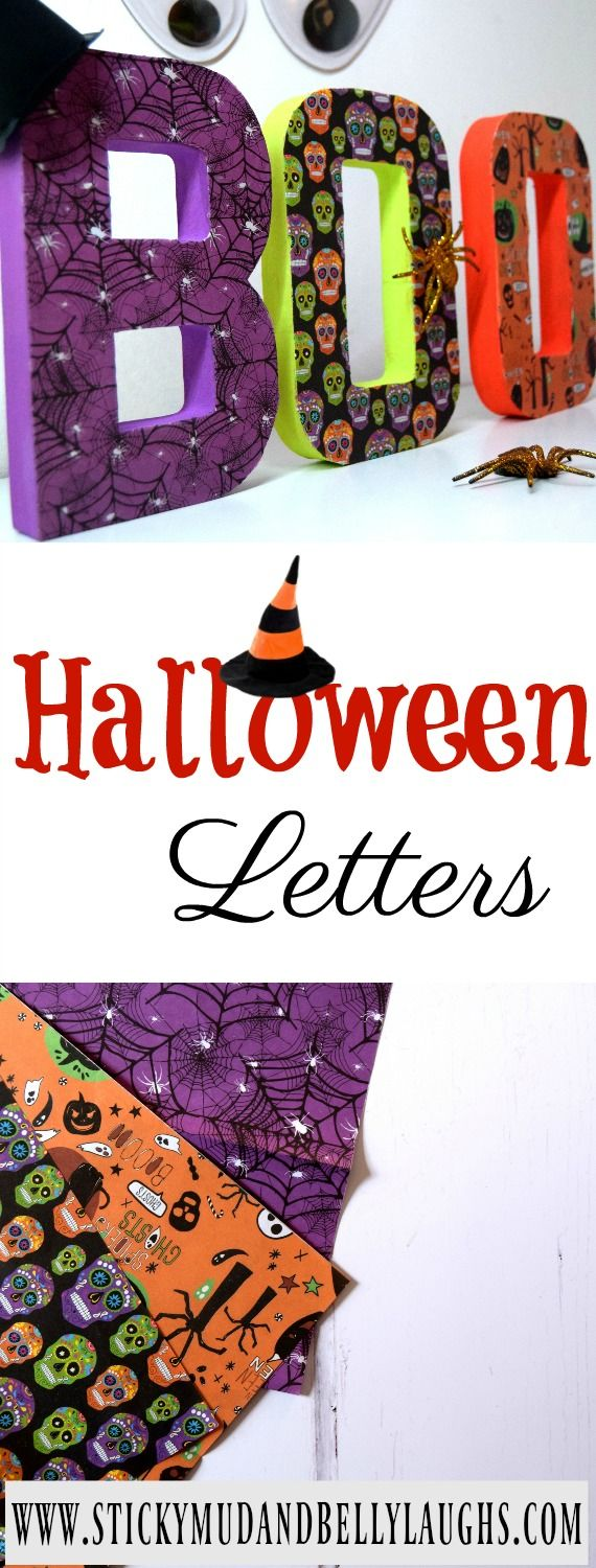 Halloween is just around the corner and we have the craft box out! We have been busy making some Halloween decorations. Check out our spooky letters!