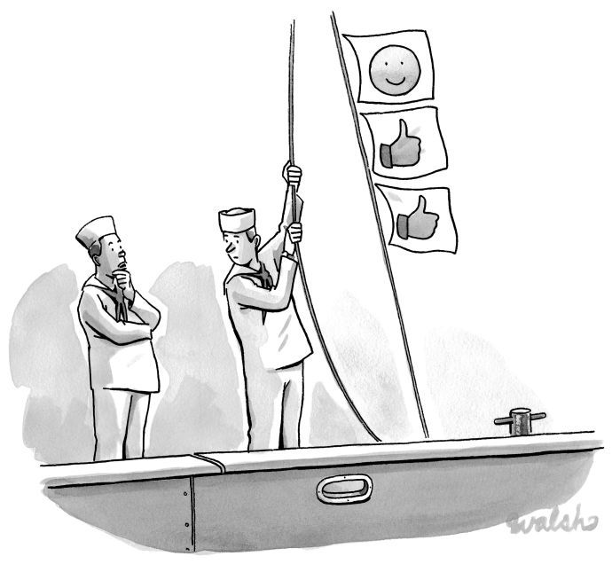 """My weekly entry in The New Yorker cartoon caption contest. Contest #501, December 7, 2015 - My caption """"Is the harbormaster still posting those cute kitten videos on Facebook?"""""""