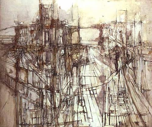 This painting was done by Vieira da silva in 1957 and is called 'les chantiers'. The street scene was created using thin sharp lines which were built up in certain areas to create depth and tone. There is a focal point created by perspective, drawing your eyes through the street. The overall mood is similar to Jackson Pollock, specifically 'Ritmo de otoño', as both artists have used prominently black and white colours, with line being a strong feature in both works.