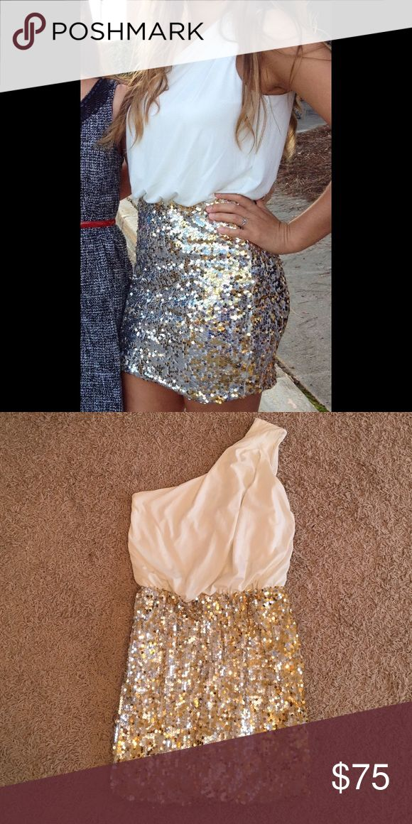 One shoulder bodycon semi formal dress One shoulder dress. Bottom is sequined. Worn 1 time for homecoming appearance. No sequins missing. Bought online at Nordstrom. Way-In Dresses Mini