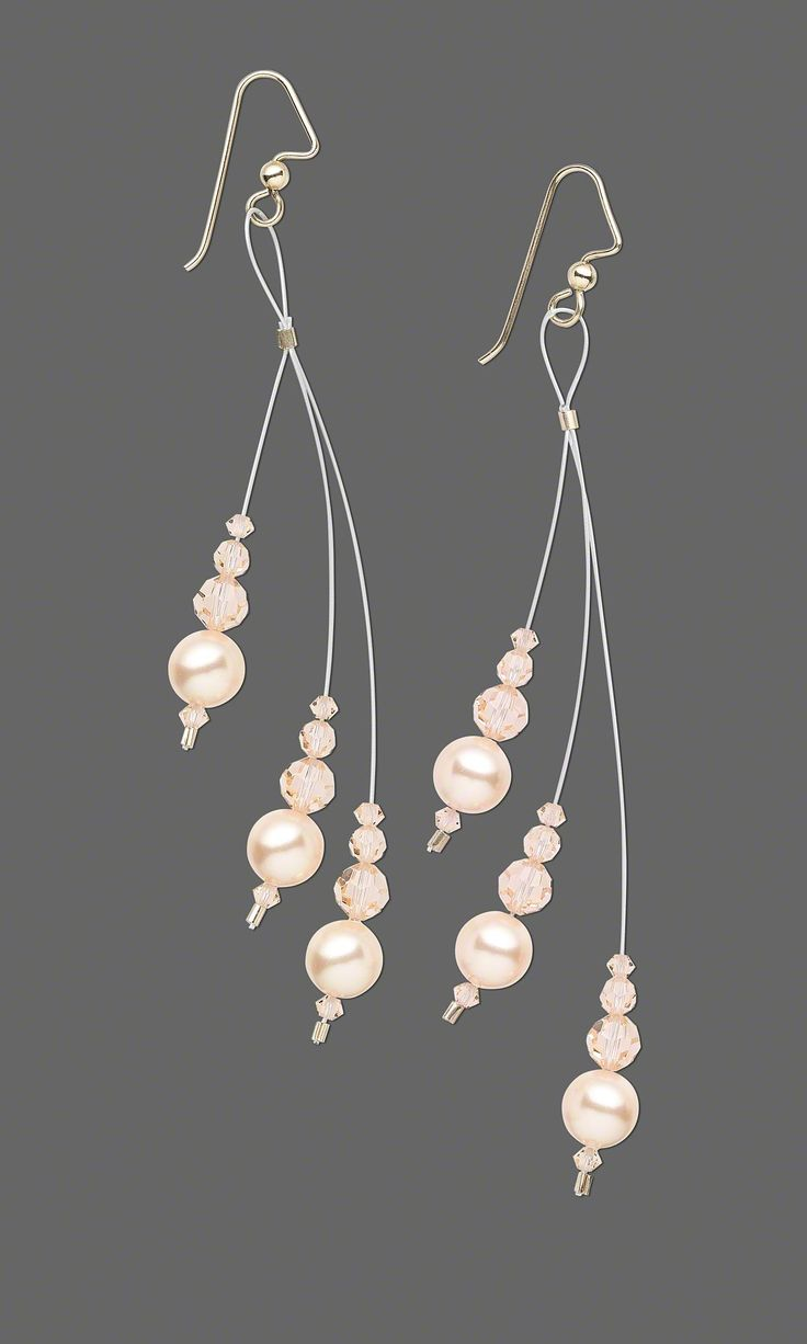 Jewelry Design   Earrings With Swarovski Crystal Pearls And Accu Flex®  Beading Wire
