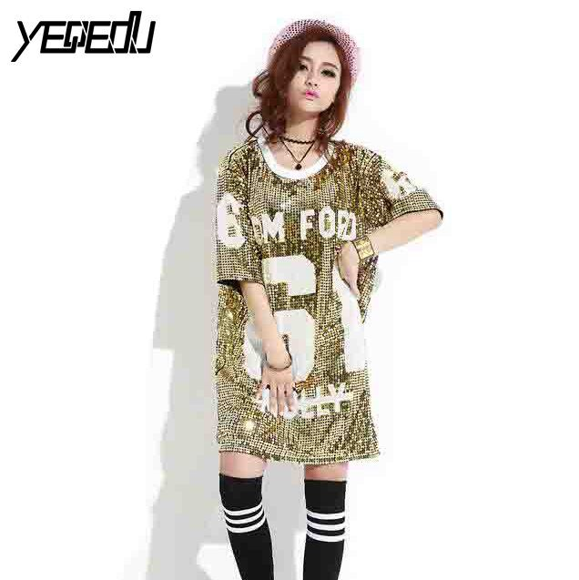 #3334 2017 Sequin top Hip hop t shirt women Punk rock Loose Plus size tshirt Harajuku Brand Camiseta mujer T shirt woman rock