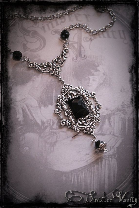 Gothic Victorian Romantic Silver Black Onyx Filigree Elegant Ornate Beaded Goth Jewelry Necklace