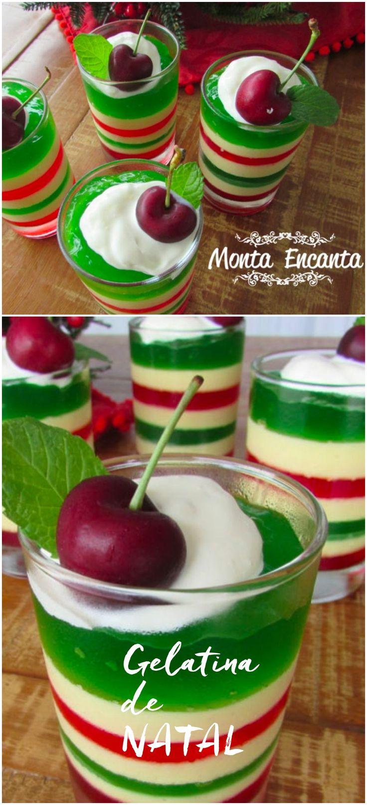 Como preparar uma gelatina de natal listrada verde e vermelha. Receita simples leva só 2 ingredientes gelatina e creme de leite! Vamos lá!!!