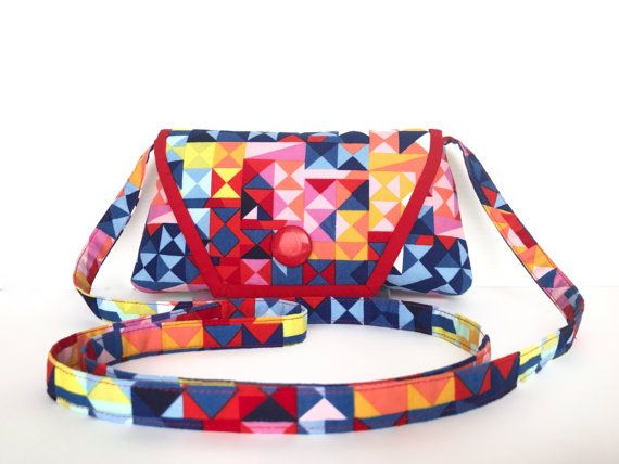 Red Geometric Crossbody bag Smartphone by AddaSplashofColour