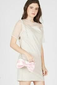 PIXCA baby pink ribbon clutches