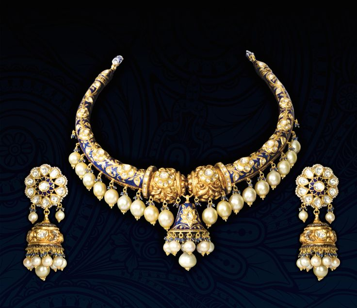 Poorva Thorat Pretty Dangling Gold & Sapphire Set