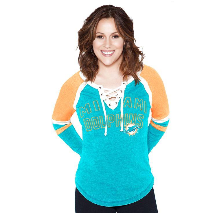 Miami Dolphins Touch by Alyssa Milano Women's Fumble Recovery Long Sleeve T-Shirt - Aqua - $51.99